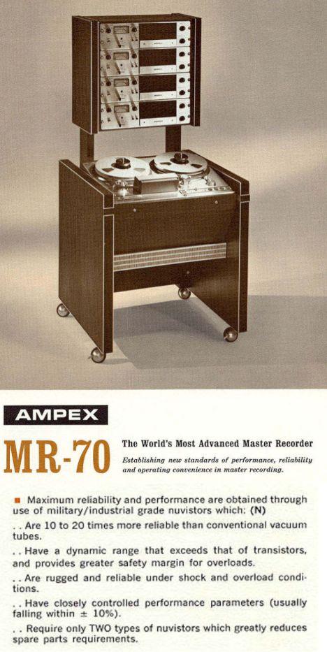 Extrait de la plaquette de l'Ampex MR70.